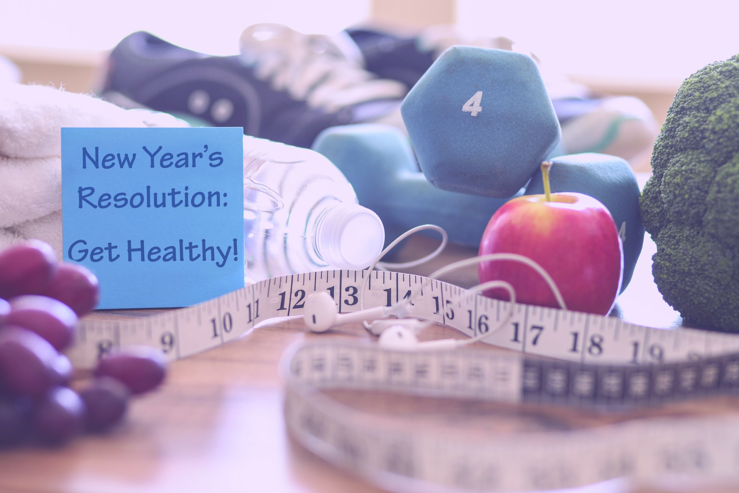 weights tape measure apple new year's health regimen