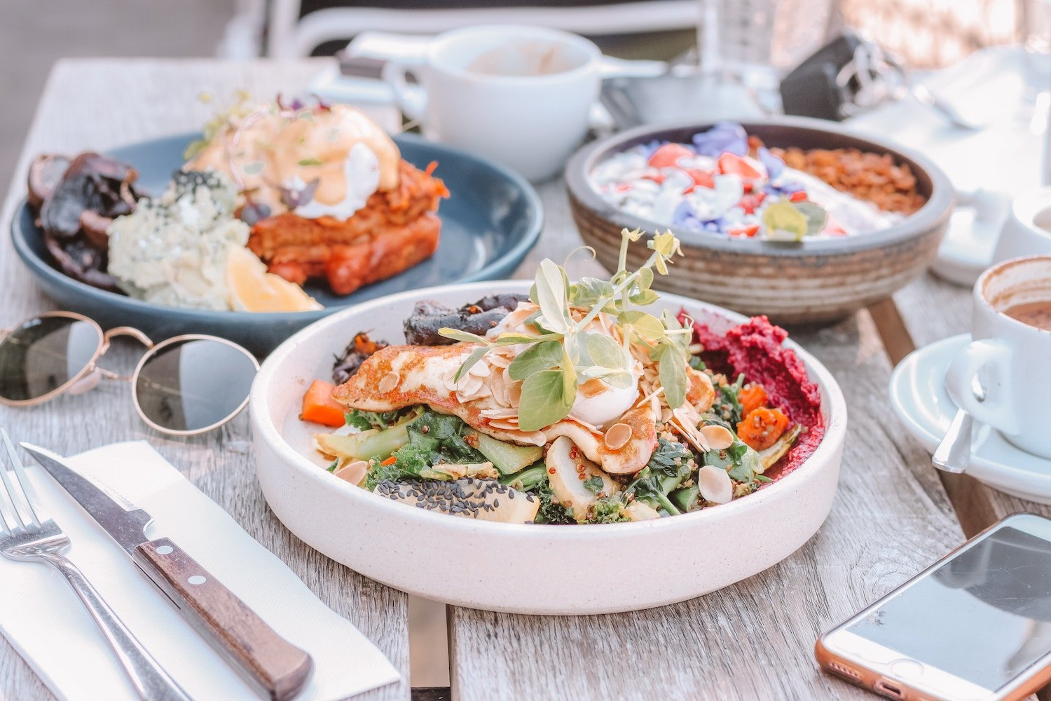 beautiful bowls of food with anti-aging vitamins